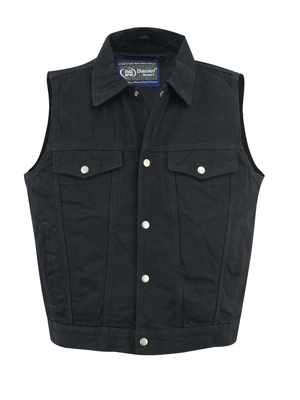 Image DM979BK Snap/Zipper Front Denim Vest- Black