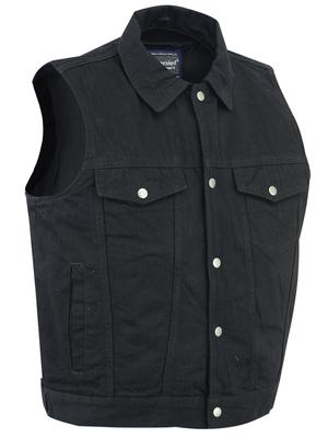 DM979BK Snap/Zipper Front Denim Vest- Black