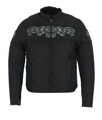 Image DS600 Men's Textile Scooter Style Jacket w/ Reflective Skulls