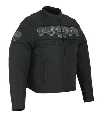 DS600 Men's Textile Scooter Style Jacket w/ Reflective Skulls