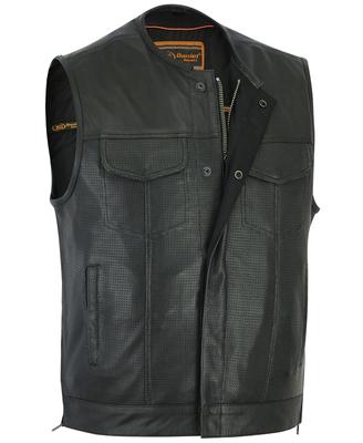 DS183 Men's Premium Perforated Single Back Panel Concealment Vest W/O Collar