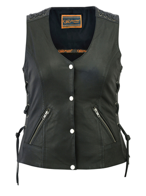 Image DS285 Women's Vest with Grommet and Lacing Accents