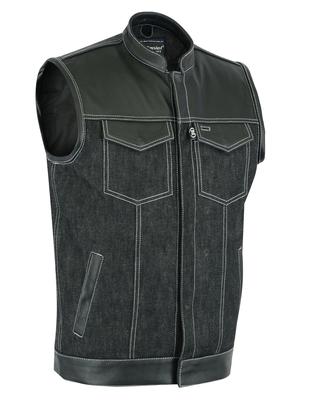 DM900 Men's Leather/Denim Combo Vest