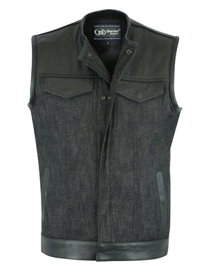 Image DM901   Men's Leather/Denim Combo Vest Without Collar
