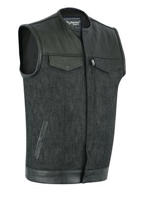DM901   Men's Leather/Denim Combo Vest Without Collar