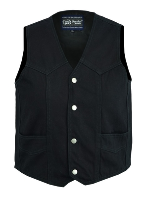 Image DM9725   Kid's Denim Plain Side Vest