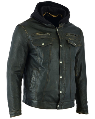 DS782 Men's Lightweight Drum Dyed Distressed Naked Lambskin Jacket