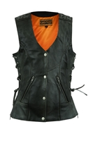 Image DS285V Women's Gray Vest with Grommet and Lacing Accents