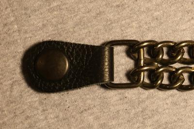 Image J226E Vest Extender - Plain Black Strap on Black Metal Chain
