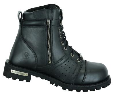 DS9731 Men's 6'' Side Zipper Plain Toe Boot W/Perforation
