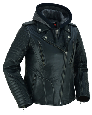 Image DS877 Women's M/C Jacket with Rub-Off Finish