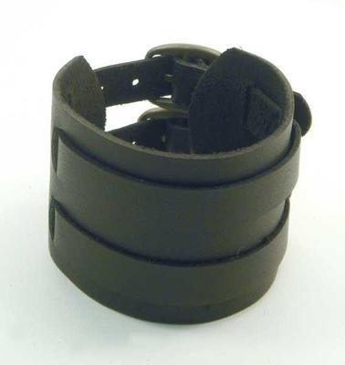 Image PV3209BLK Black Buckle Leather Cuff Bracelet with Belt Buckle Adj
