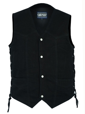 Image DM911 Men's Traditional Denim Vest with Side Laces