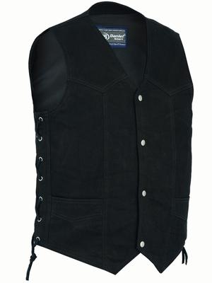 DM911 Men's Traditional Denim Vest with Side Laces