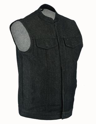 DM977 Men's Rough Rub-Off Raw Finish Denim Vest