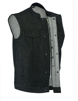 Image DM977 Men's Rough Rub-Off Raw Finish Denim Vest