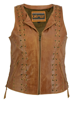 Image DS236 Women's Brown Zippered Vest with Lacing Details
