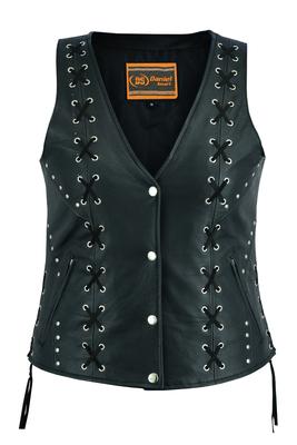 DS234 Women's Open neck Vest with Lacing Details