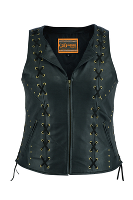 Image DS233 Women's Zippered Vest with Lacing Details