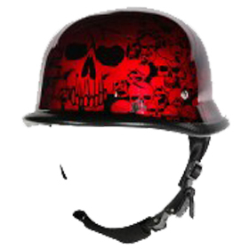 Image H82 Novelty German Burgundy Skull Graveyard - Non DOT