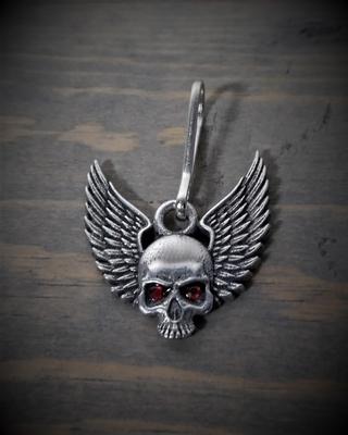 Image BZP-35 Skull Upwing Diamond Zipper Pull