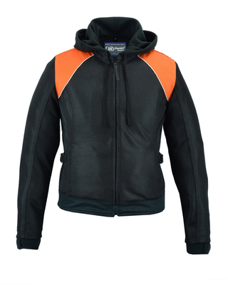Image DS827 Women's Mesh 3-in-1 Riding Jacket (Black/Orange)
