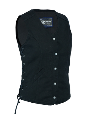 DM908  Women's Denim Longer Body ¾ Vest – Side Laces