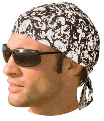 Image HW2677 Headwrap White Skulls