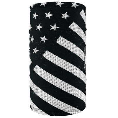 TF091 Motley Tube® Fleece Lined Polyester, Black and White Flag