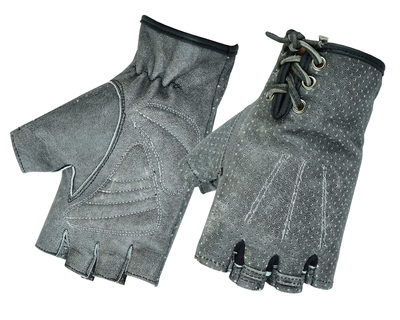 DS74 Women's Washed-Out Gray Perforated Fingerless Glove