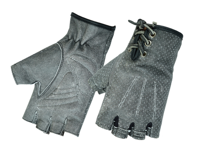 Image DS74 Women's Washed-Out Gray Perforated Fingerless Glove