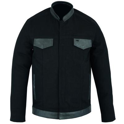 Image DS988 Men's Full Cut Denim Shirt W/Leather Trim