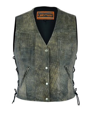Image DS207 Women's Antique Brown Single Back Panel Concealed Carry Vest
