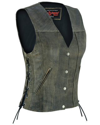 DS207 Women's Antique Brown Single Back Panel Concealed Carry Vest