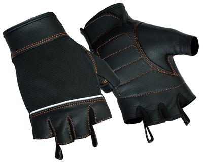 DS2429 Women's Fingerless Glove with Orange Stitching Details