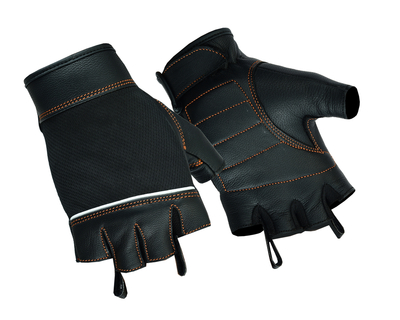 Image DS2429 Women's Fingerless Glove with Orange Stitching Details