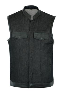 Image DM962 Men's Rough Rub-Off Raw Finish Denim Vest W/Leather Trim - Scoop Collar