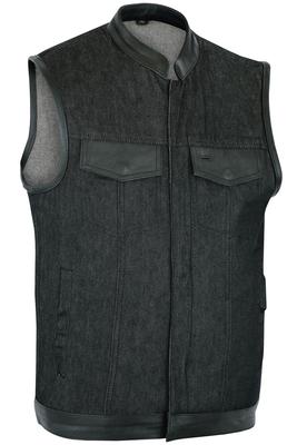 DM962 Men's Rough Rub-Off Raw Finish Denim Vest W/Leather Trim - Scoop Collar