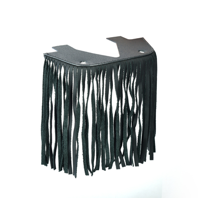 Image B1004 Black Leather Floor Boards with Fringe - Small