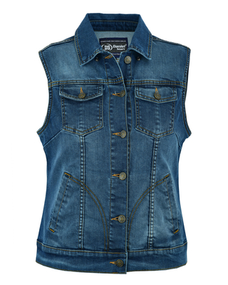 Image DS943  Women's Blue Denim Snap Front Vest
