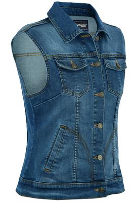 DM943  Women's Blue Denim Snap Front Vest