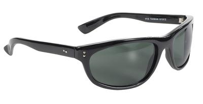 81012 Dirty Harry MC Sunglass Wrap Blk/Dk Green Lens