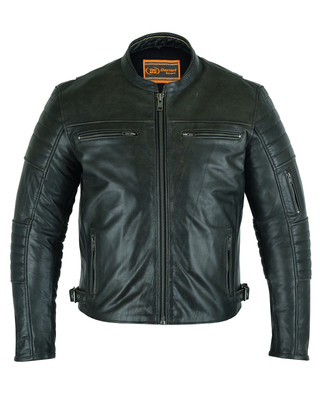 Image DS757 Men's Lightweight Drum Dryed Naked Lambskin Crossover Scooter Jacket