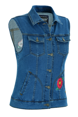 DM944 Women's Blue Denim Snap Front Vest with Red Daisy