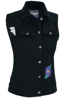 DM945 Women's Black Denim Snap Front Vest with Purple Daisy