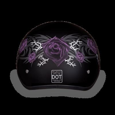 Image D6-PR D.O.T. DAYTONA SKULL CAP - W/ PURPLE ROSE