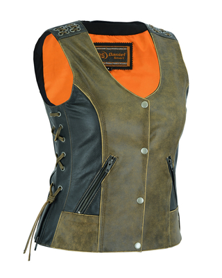 Image DS298 Women's Vest with Grommet and Lacing Accents – Two Tone