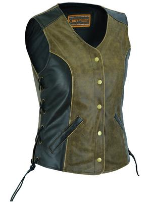 Image DS214  Women's Stylish Longer Body ¾ Vest – Side Laces – Two Tone