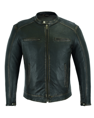 Image DS743 Men's Cruiser Jacket in Lightweight Drum Dyed Distressed Naked Lambskin