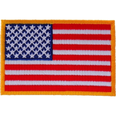 Image P2046 US Flag Patch Small Yellow Border 3 Inch